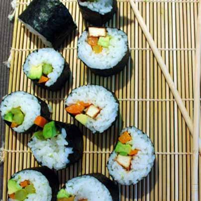Futo-maki asperge, carotte et tofu frit