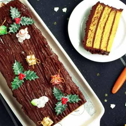 Bûche de Noël amande et ganache chocolat