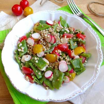 Recette salade de sarrasin, haricots plats, radis et tomates cerises